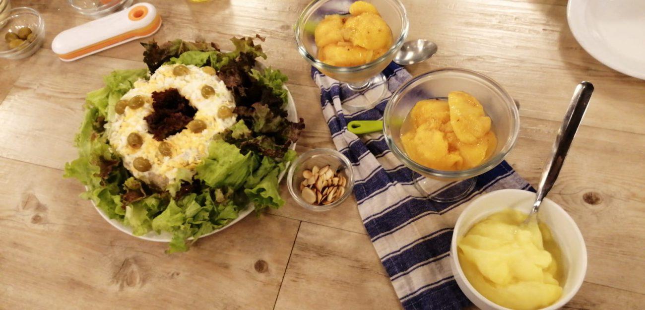 Aro de arroz y atún + Duraznos en almíbar