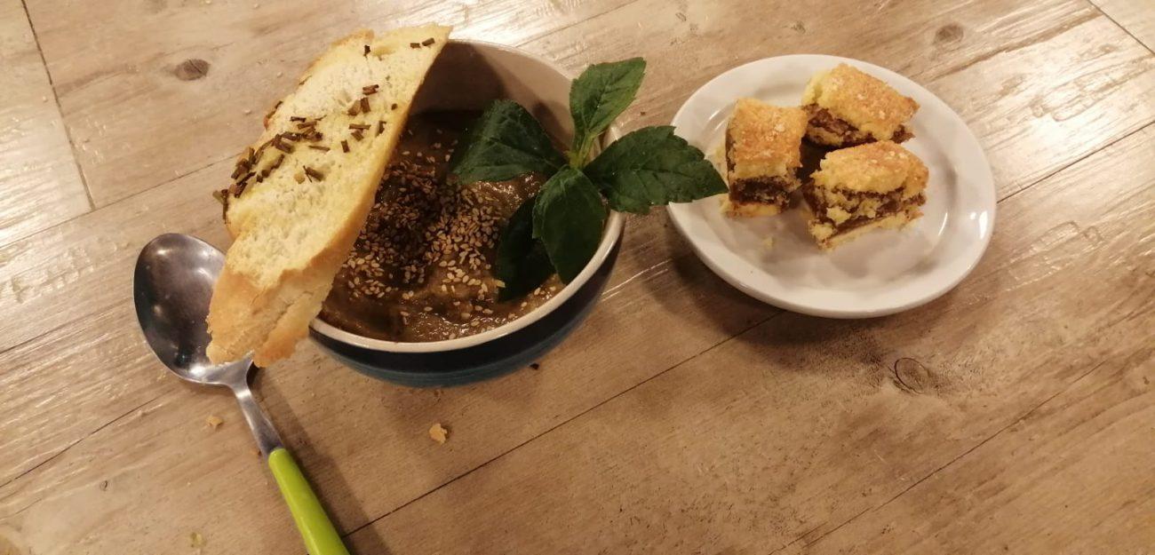 Crema de lentejas  + Tarta de dulce de leche y coco rallado