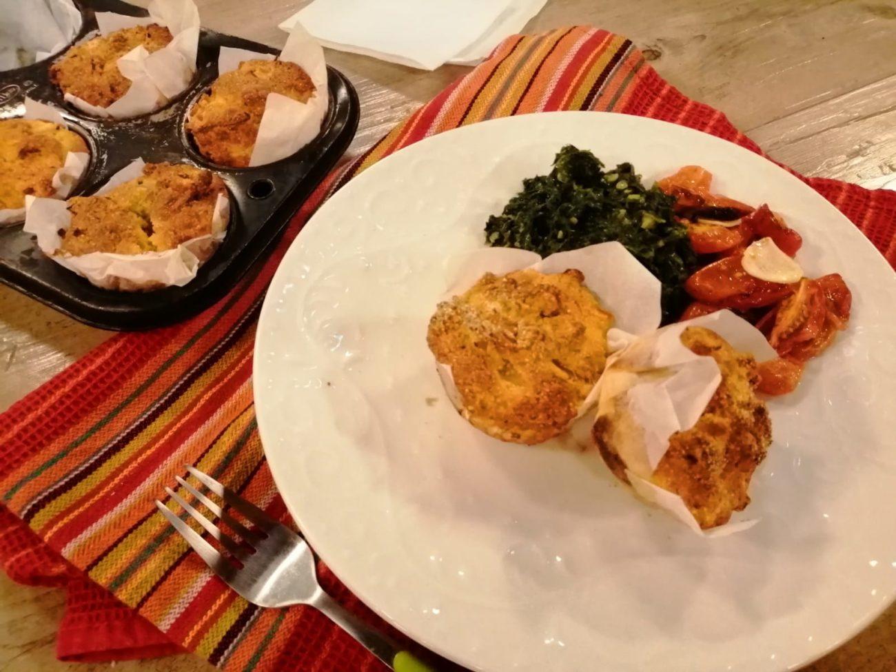 Muffins de espinaca, champiñones y choclo