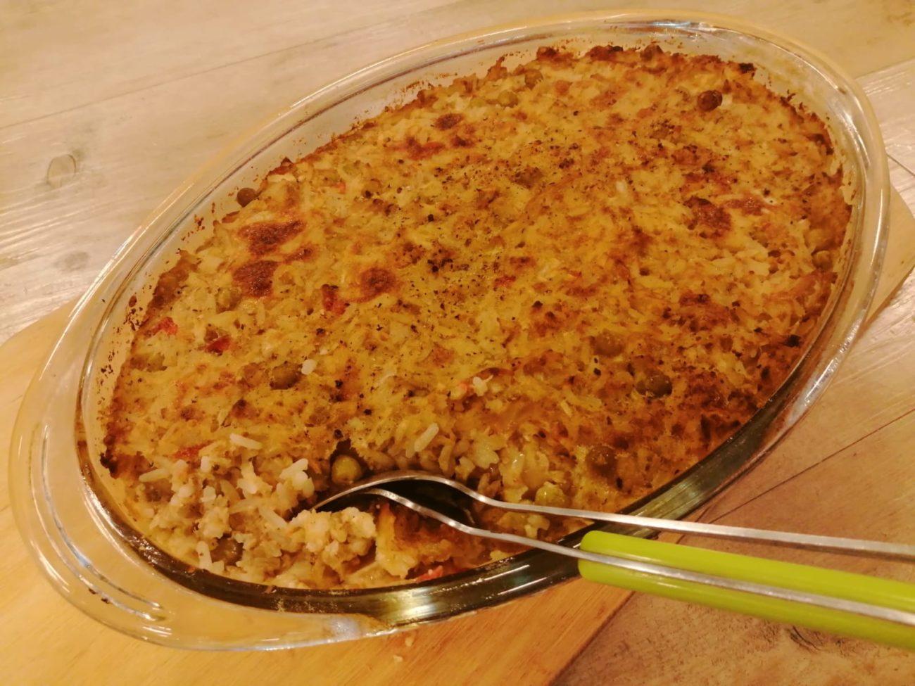 Pastel atún y arroz
