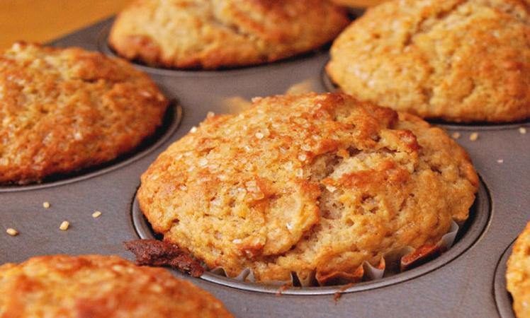 Muffins de queso blanco y mermelada de duraznos